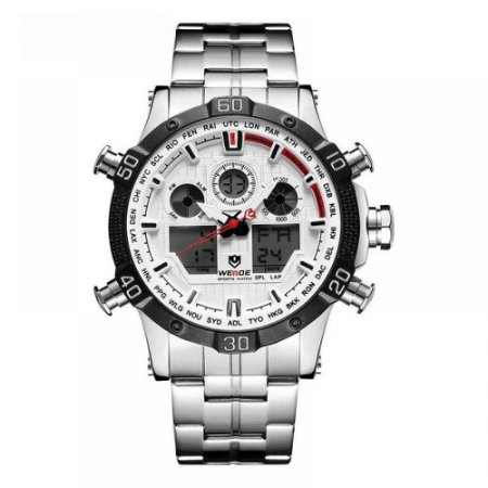 Relógio Masculino Weide AnaDigi WH-6901 - Prata e Branco