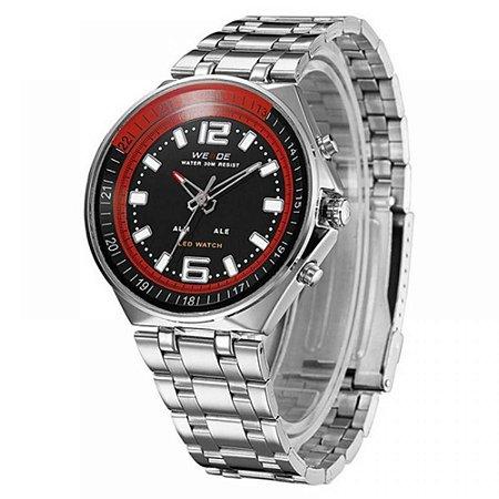 Relógio Masculino Weide AnaDigi WH-849 - Prata, Preto e Vermelho