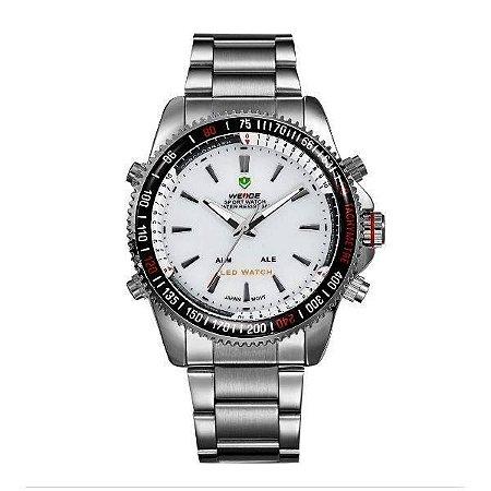 Relógio Masculino Weide AnaDigi WH-903 - Prata e Branco