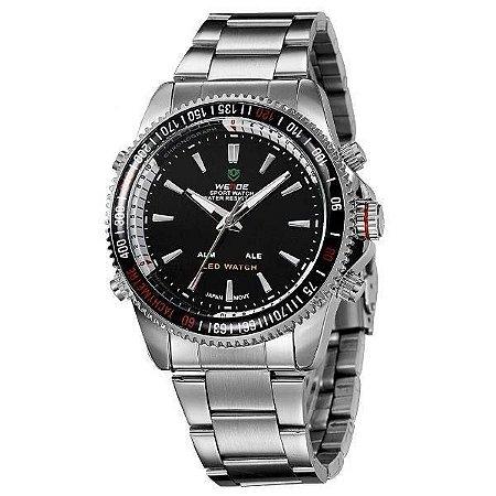 Relógio Masculino Weide AnaDigi WH-903 - Prata e Preto