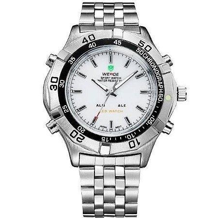 Relógio Masculino Weide AnaDigi WH-905 - Prata e Branco