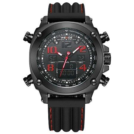 Relógio Masculino Weide AnaDigi WH5208 - Preto e Vermelho