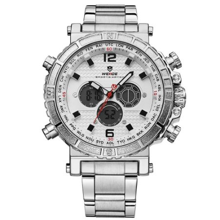 Relógio Masculino Weide AnaDigi WH6305 - Prata e Branco