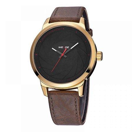 Relógio Masculino Weide Analógico WD005 - Marrom, Dourado e Preto