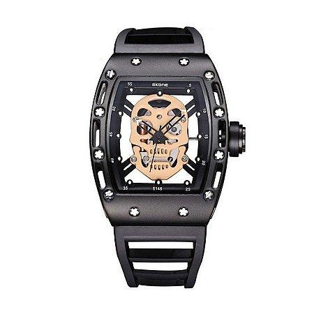 Relógio Masculino Skone Analógico 5146 Preto e Bege-