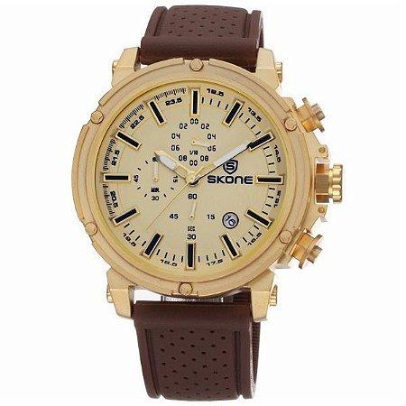 Relógio Masculino Skone Analógico 5148EG Dourado-