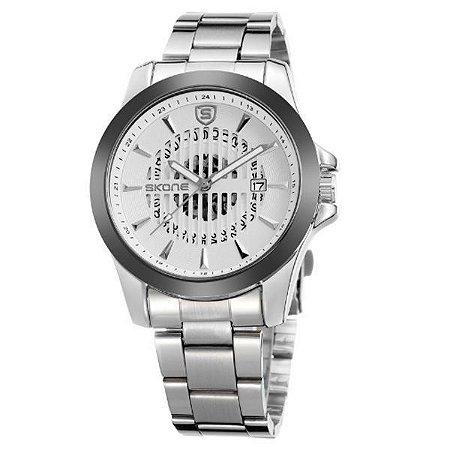 Relógio Masculino Skone Analógico 7232BG Branco-