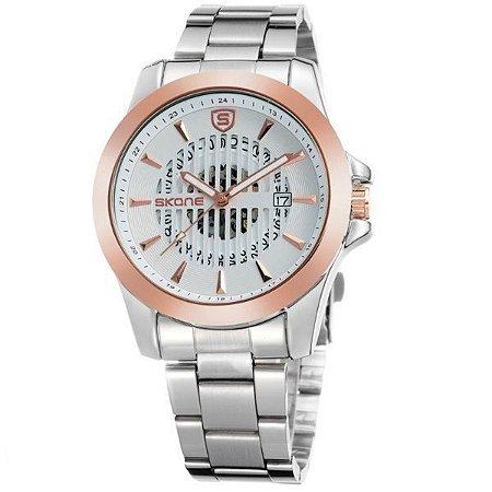 Relógio Masculino Skone Analógico 7232BG Dourado-