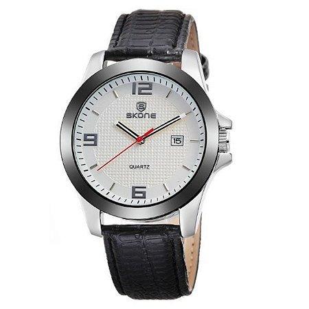 Relógio Masculino Skone Analógico 9180BR Branco-