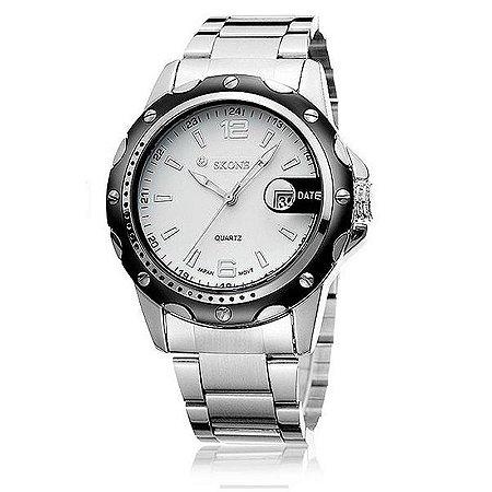 Relógio Masculino Skone Analógico Casual 7147BG Branco-