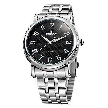 Relógio Masculino Skone Analógico Casual 7214G Preto-