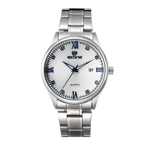 Relógio Masculino Skone Analógico Casual 7294 Prata e Azul-