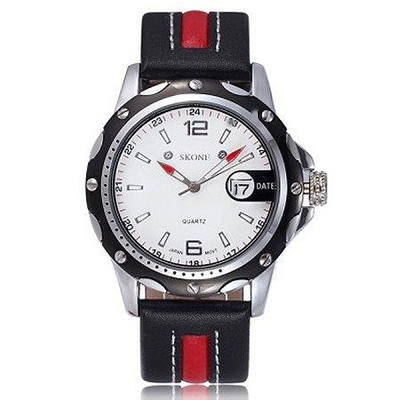 Relógio Masculino Skone Analógico Casual 9117B Vermelho-