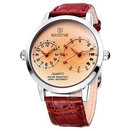 Relógio Masculino Skone Analógico Casual 9142 Marrom-