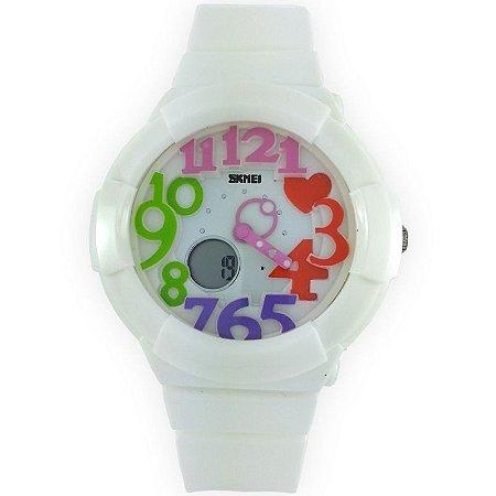 Relógio Feminino Skmei Anadigi 1020 Branco e Colorido-