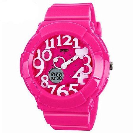 Relógio Feminino Skmei Anadigi 1020 Pink-