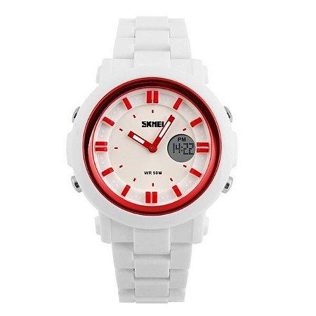 Relógio Feminino Skmei Anadigi 1062 Branco-