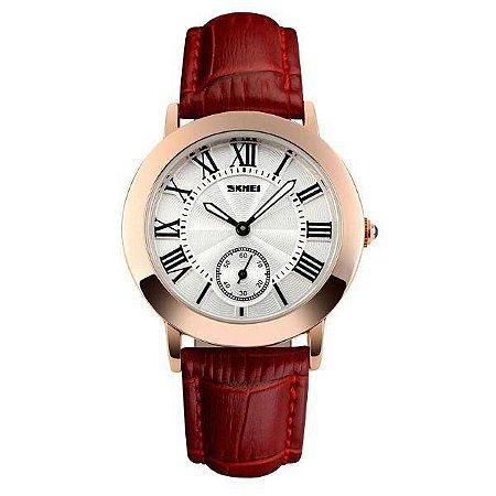 Relógio Feminino Skmei Analógico 1083 - Vermelho, Dourado e Branco