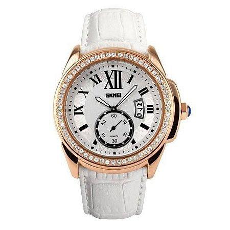 Relógio Feminino Skmei Analógico 1147 - Branco e Dourado