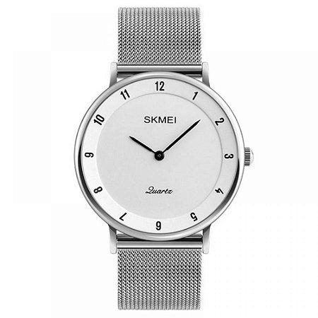 Relógio Feminino Skmei Analógico 1264 - Prata e Branco