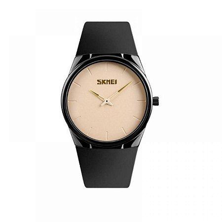 Relógio Feminino Skmei Analógico 1601S - Preto e Bege