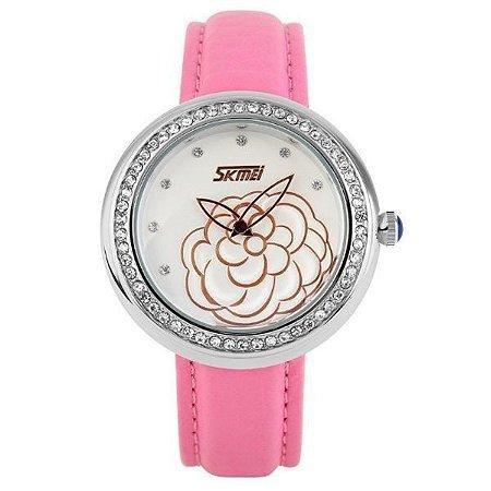 Relógio Feminino Skmei Analógico 9087 - Rosa e Prata-