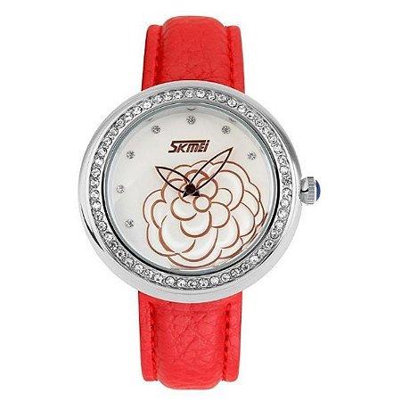 Relógio Feminino Skmei Analógico 9087 - Vermelho e Prata-