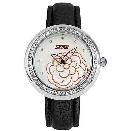 Relógio Feminino Skmei Analógico 9087 Preto e Prata-
