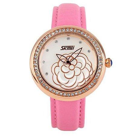 Relógio Feminino Skmei Analógico 9087 Rosa e Dourado-