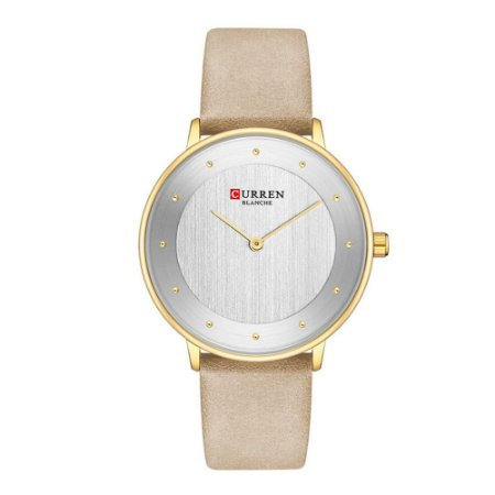 Relógio Feminino Curren Analógico C9033L - Dourado e Bege