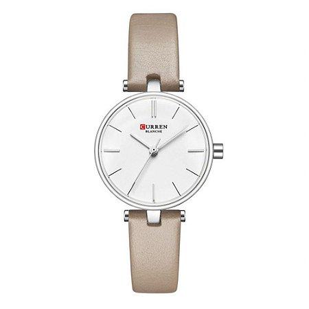 Relógio Feminino Curren Analógico C9038L - Prata e Bege