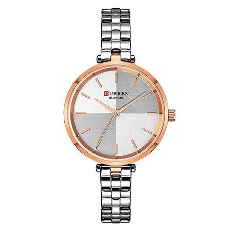 Relógio Feminino Curren Analógico C9043L - Prata e Rose