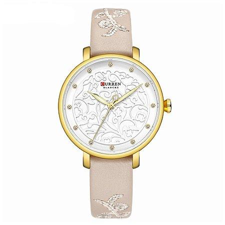 Relógio Feminino Curren Analógico C9046 - Dourado e Bege