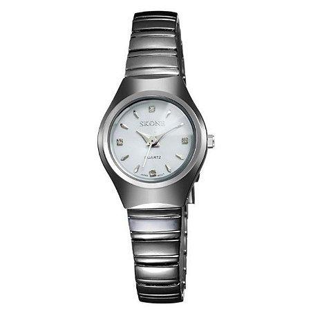 Relógio Feminino Skone Analógico 7101L Branco-