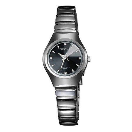 Relógio Feminino Skone Analógico 7101L Preto-