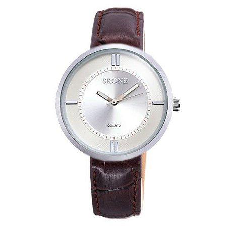 Relógio Feminino Skone Analógico 9100 Marrom e Prata-