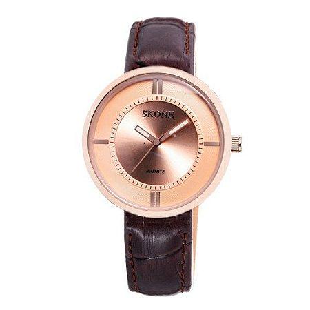 Relógio Feminino Skone Analógico 9100 Marrom-