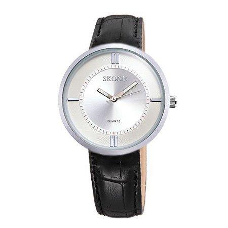 Relógio Feminino Skone Analógico 9100 Preto e Prata-