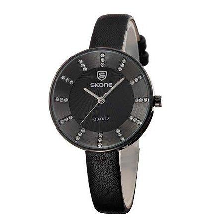 Relógio Feminino Skone Analógico 9250 Preto-