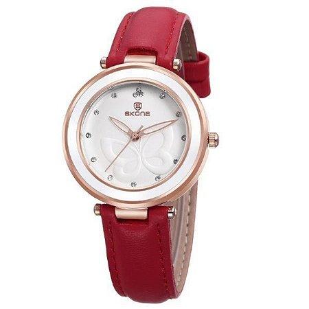 Relógio Feminino Skone Analógico 9294 Vermelho-