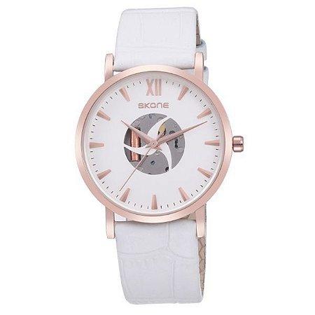 Relógio Feminino Skone Analógico 9311G Branco-
