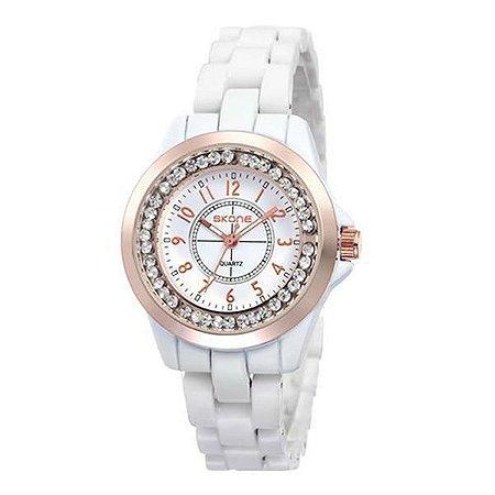 Relógio Feminino Skone Analógico Casual  7218L Branco e Bronze-
