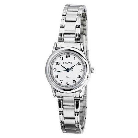 Relógio Feminino Skone Analógico Casual 7055 Branco-
