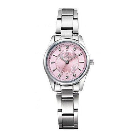 Relógio Feminino Skone Analógico Casual 7298L Rosa-
