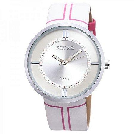 Relógio Feminino Skone Analógico Casual 9100 Branco e Rosa-
