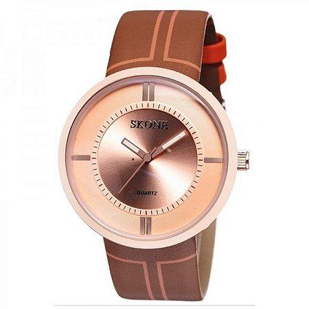 Relógio Feminino Skone Analógico Casual 9100 Bronze-