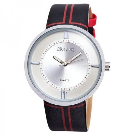 Relógio Feminino Skone Analógico Casual 9100 Preto e Vermelho-