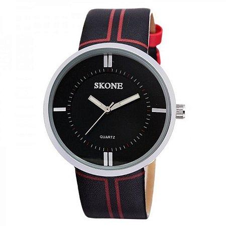 Relógio Feminino Skone Analógico Casual 9100 Preto-