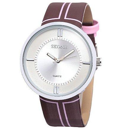 Relógio Feminino Skone Analógico Casual 9100 Rosa-