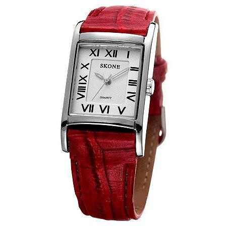 Relógio Feminino Skone Analógico Casual 9107 Vermelho-